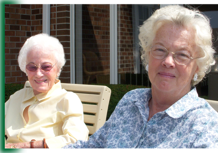 Ladies enjoying sunshine at Laurel View Village, Davidsville in Somerset County near Johnstown PA, Cambria County
