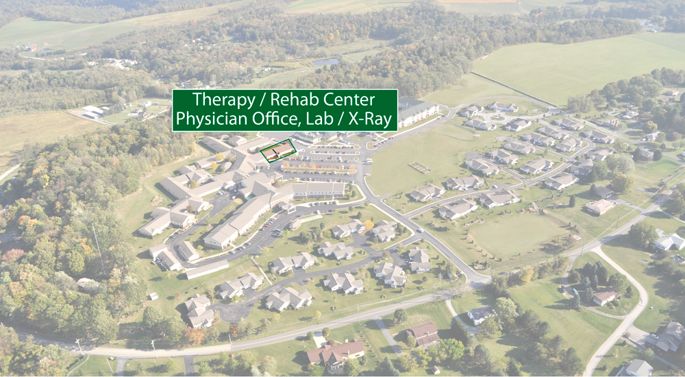 Location of Therapy RehabCare, Physician Office, Lab Services and X-Ray on Laurel View Village Campus