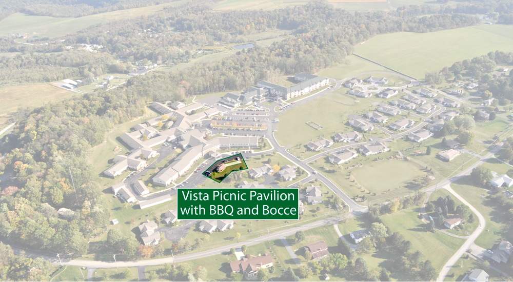 Picnic Pavilion with Bocce Court at Vista Apartments at Laurel View Village, Davidsville