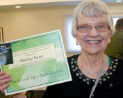 Smiling Volunteer with Certificate at Laurel View Village Volunteer Appreciation Breakfast 2016